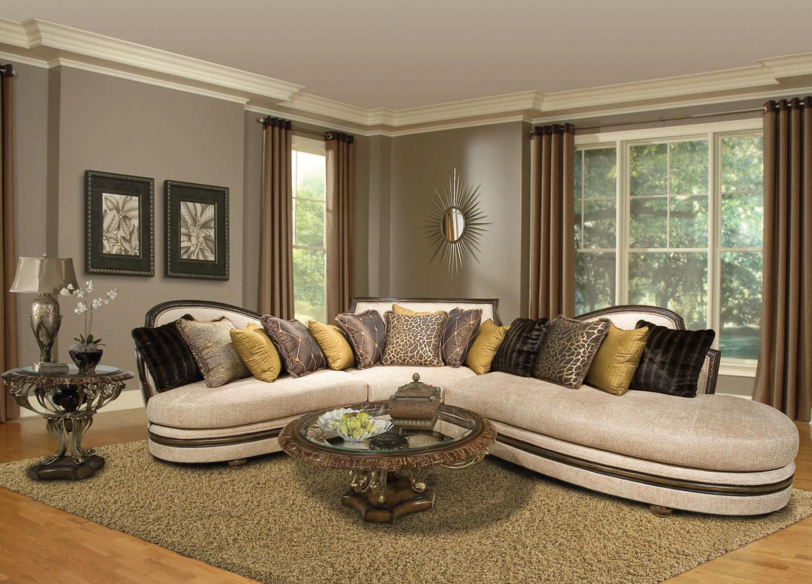 Bennetti Cream Chenille Luxury Sectional Sofa Dark Wood Ravenna Sectional-LEFT LEFT Traditional