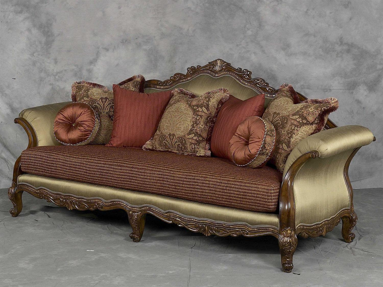 Bennetti Luxury Silk Chenille Solid Carved Wood Sofa Regalia Sofa  Classic Traditional