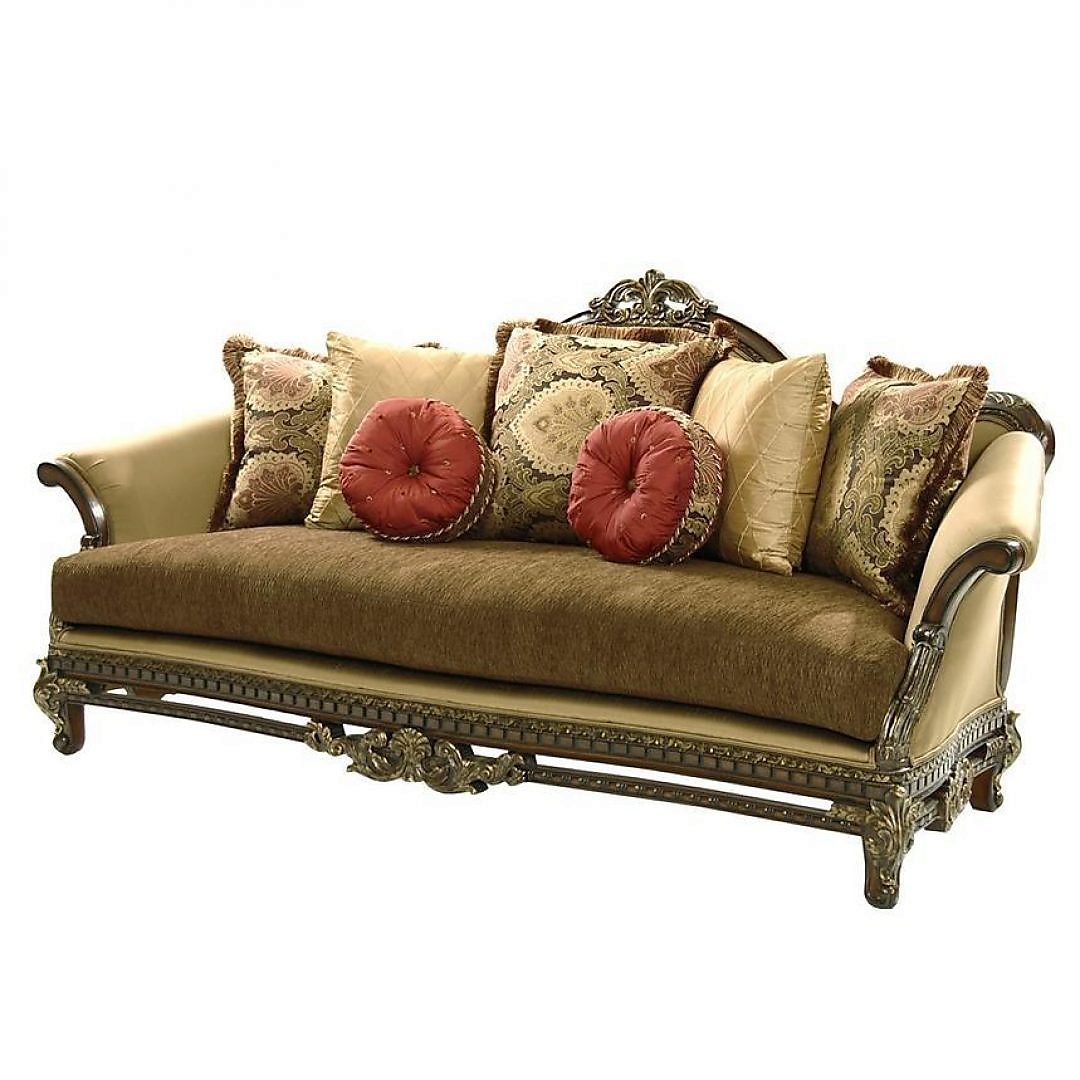 Bennetti Luxury Silk Chenille Solid Carved Wood Sofa Sicily Sofa Classic Traditional