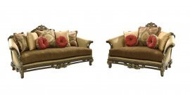Bennetti Luxury Silk Chenille Solid Wood Sofa Set 2Pcs Sicily Sofa Loveseat Classic Traditional
