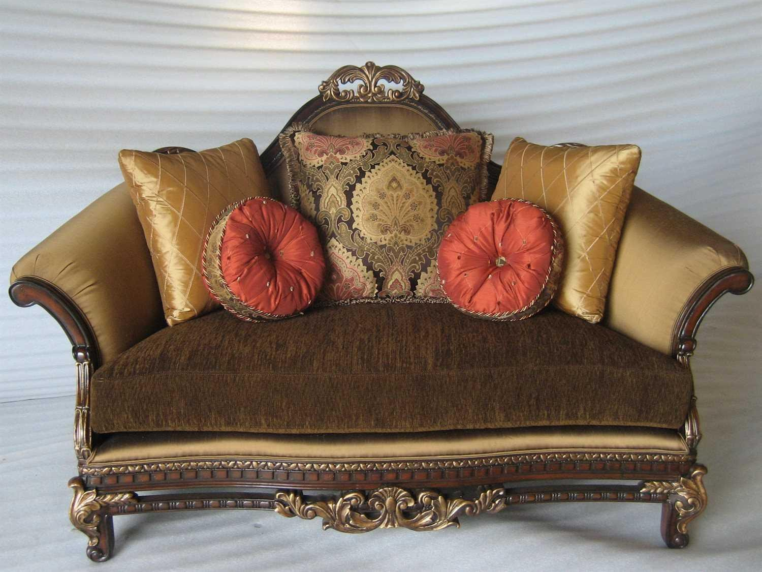 Bennetti Luxury Silk Chenille Solid Carved Wood Loveseat Sicily Loveseat Classic Traditional
