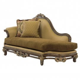 Bennetti Silk Chenille Solid Wood Luxury Chaise Lounge Sicily Chaise Lounge  Classic Traditional