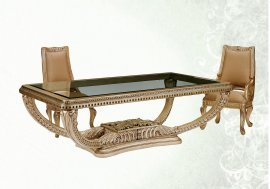 Bennetti Luxury Golden Finish Dining Table w/Glass Top Carved Wood Riminni  Dining Table Traditional