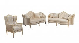Bennetti Luxury Champagne Chenille Sofa Set 3Pcs Wood Trim BELLA Sofa Loveseat Chair  Classic Traditional