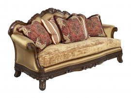 Luxury Gold Chenille Dark Brown Wood Sofa HD-90015 Classic Traditional