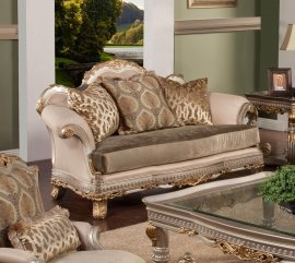 Bennetti Silver Gold Wood Luxury Silk Chenille Loveseat Ornella Loveseat Classic Traditional