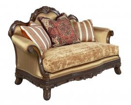 Dark Brown Wood Luxury Gold Chenille Loveseat  HD-90015 Classic Traditional