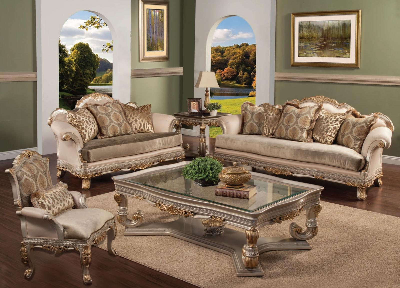 Bennetti Luxury Silk Chenille Silver Gold Wood Sofa Set 4P Ornella Sofa Loveseat Chair Cocktail Table Classic Traditional