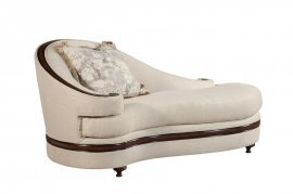 Bennetti Luxury Beige Chaise Lounge Dark Brown Wood Trim Emma Chaise Lounge Classic Traditional