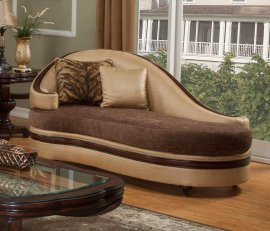 Bennetti Luxury Golden Beige Chaise Lounge Dark Brown Wood Emma BR Chaise Lounge Traditional Classic