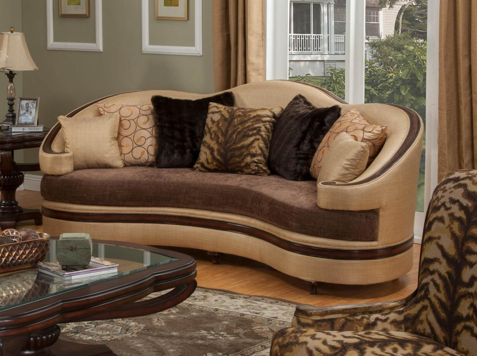 Bennetti Luxury Golden Beige Sofa Dark Brown Wood Emma BR Sofa Classic Traditional