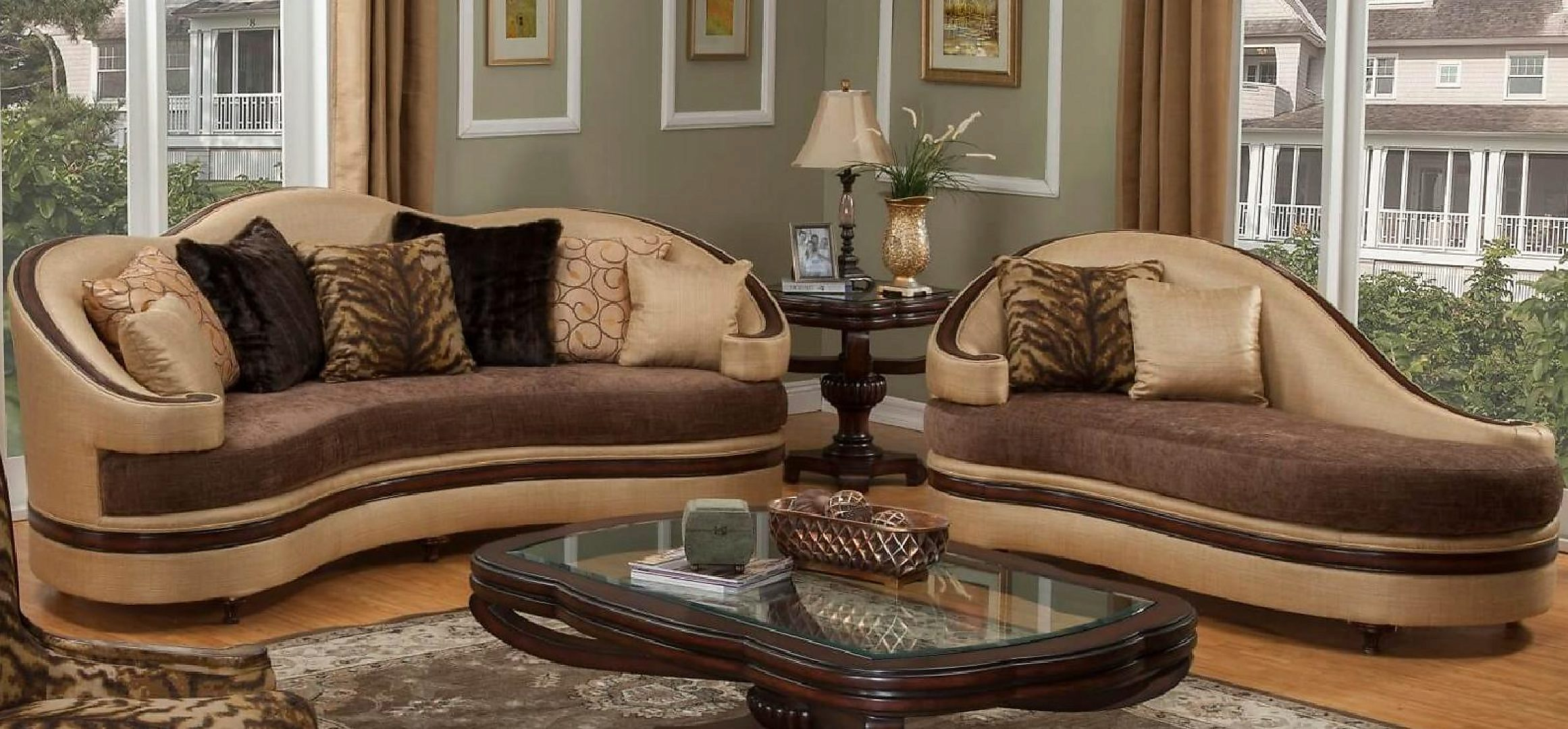 Bennetti Golden Beige Chenille Dark Brown Wood Sofa Chaise Set 2 Pcs EMMA BR Sofa Chaise Traditional