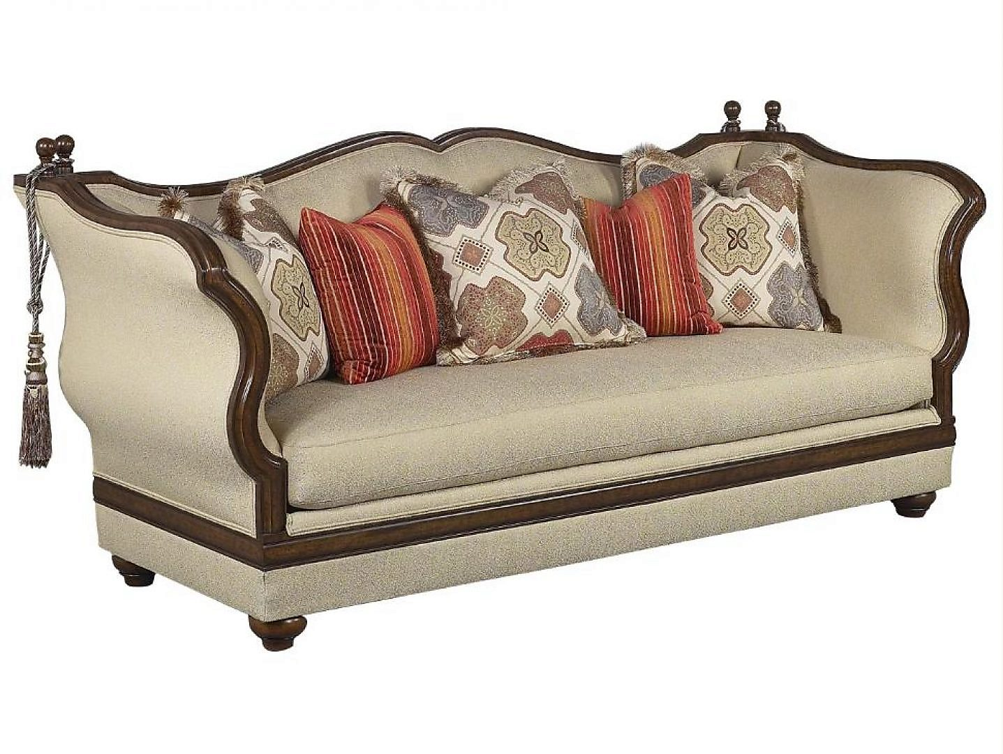 Bennetti Beige Silk Chenille Dark Brown Luxury Sofa Renata Sofa   Classic Traditional