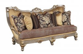 Antique Beige Gold w/Silver Wood Luxury Sofa HD-90018 Traditional Classic