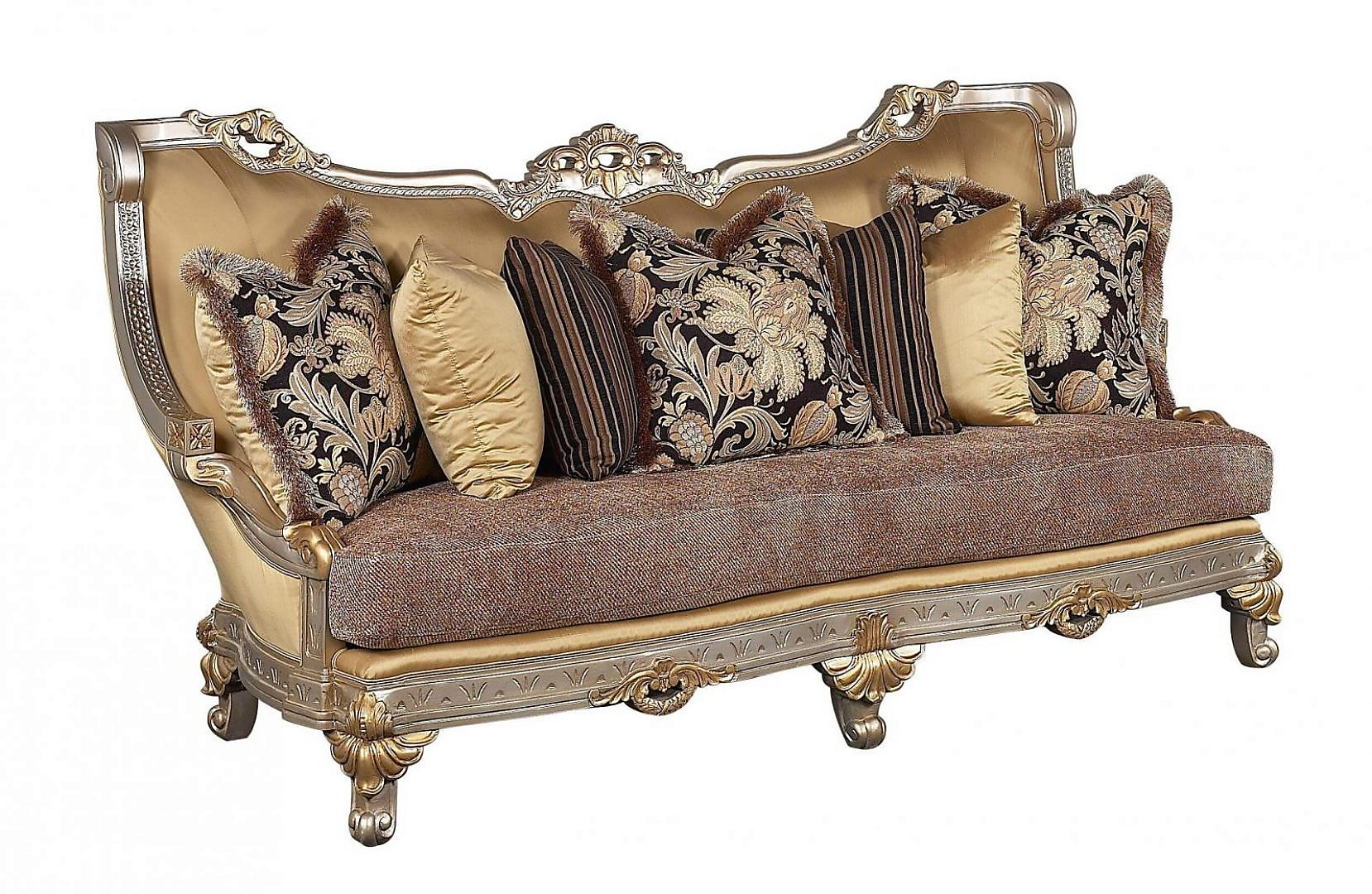 Bennetti Antique Beige Gold w/Silver Wood Luxury Sofa Firenza Sofa Silver  Traditional Classic