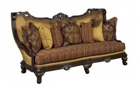 Antique Beige Gold Dark Brown Wood Luxury Sofa HD-90018 Classic Traditional