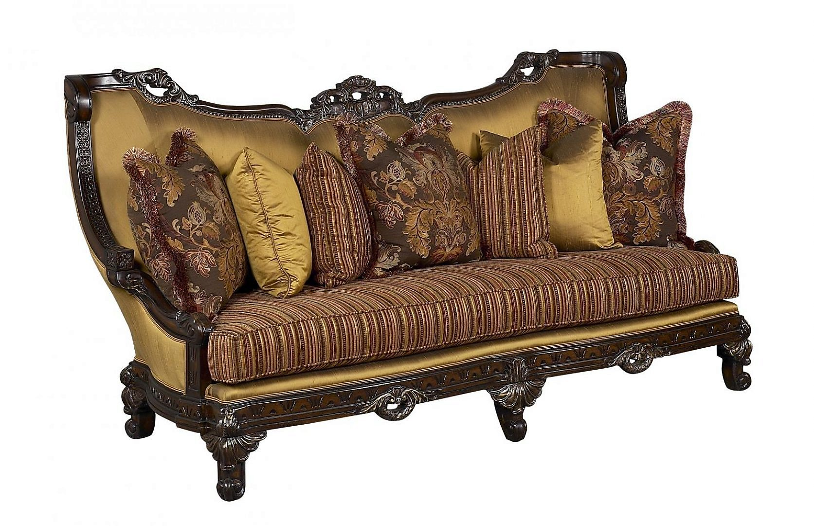 Bennetti Antique Beige Gold Dark Brown Wood Luxury Sofa Firenza Dark Brown Sofa Classic Traditional