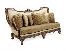 Antique Brown Wood w/Golden Tips Luxury Sofa HD-90018 Classic Traditional
