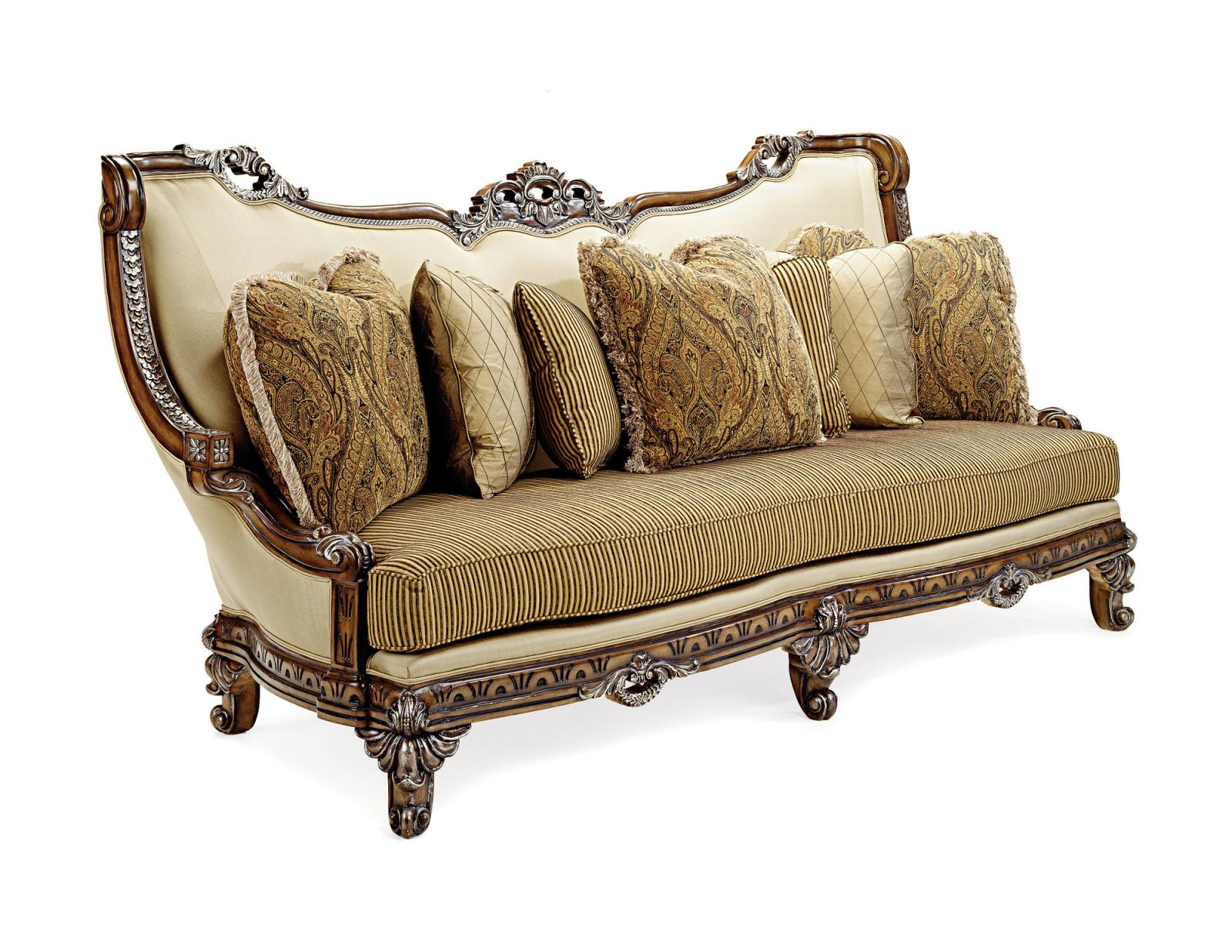Bennetti Antique Brown Wood w/Golden Tips Luxury Sofa Firenza BR Sofa Classic Traditional