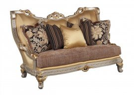 Luxury Silk Chenille Gold w/Silver Wood Loveseat HD-90018 Classic Traditional