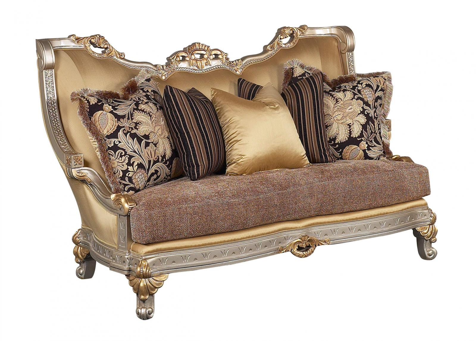 Bennetti Luxury Silk Chenille Gold w/Silver Wood Loveseat Firenza Loveseat Silver Classic Traditional