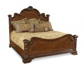 Traditional Medium Cherry Wood Eastern King Panel Bed HD-80001