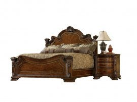 Traditional Medium Cherry Wood California King Panel Bedroom Set 3Pcs HD-80001