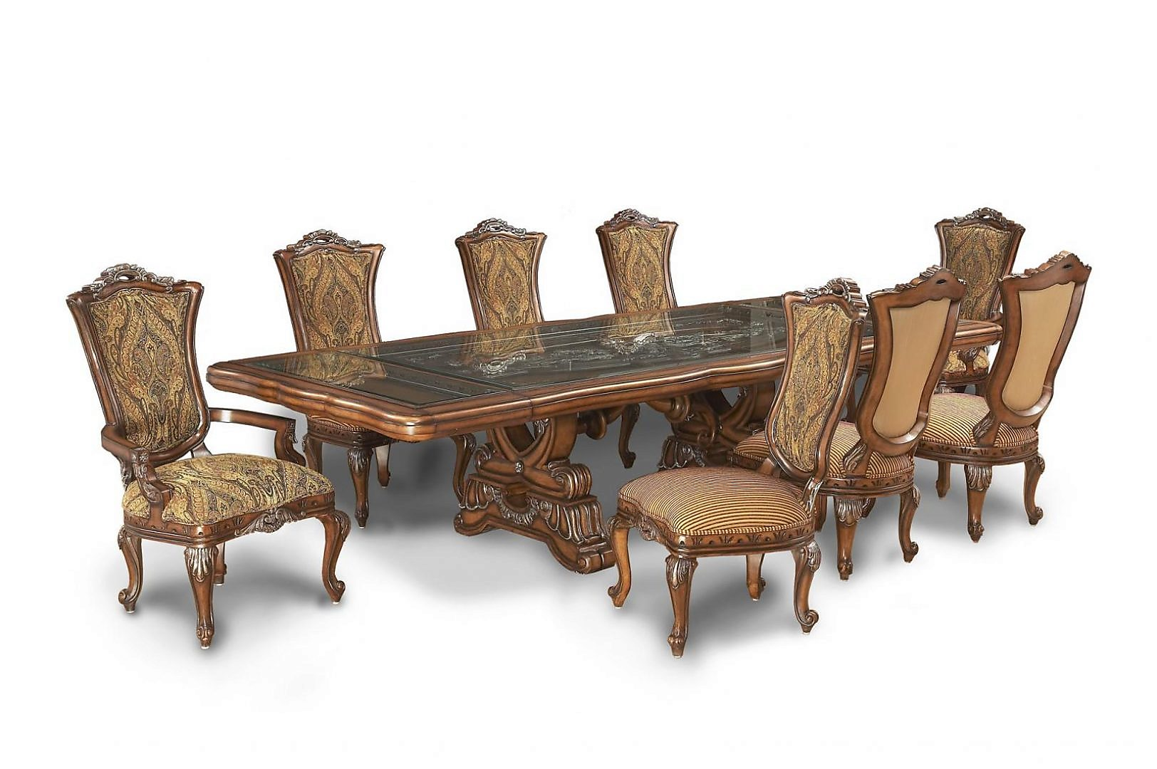 Bennetti Luxury Walnut Dining Room Set 9P Table w/Extension Firenza Table Side Chairs 2 Arm Chairs Classic Traditional