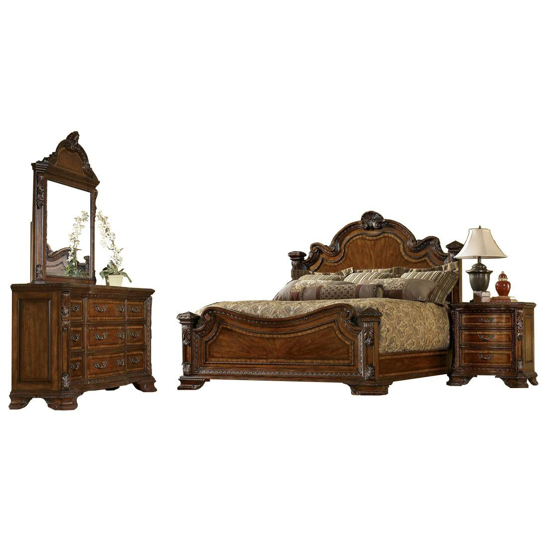 Traditional Medium Cherry Wood Eastern King Panel Bedroom Set 5Pcs HD-80001