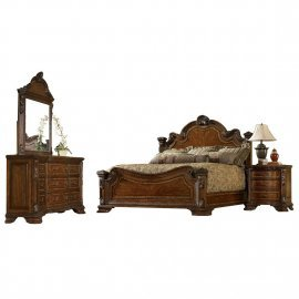 Traditional Medium Cherry Wood Queen Panel Bedroom Set 5Pcs HD-80001