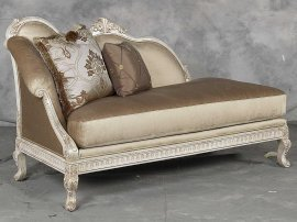 Bennetti Golden Pearl Chenille Silver Gold Wood Chaise Lounge Perla Chaise Lounge Traditional