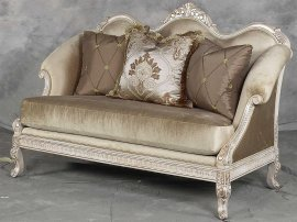 Bennetti Golden Pearl Chenille Silver Gold Wood Loveseat Perla Loveseat  Classic Traditional