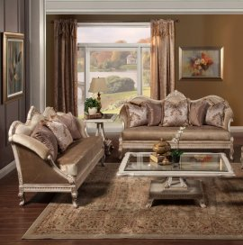 Bennetti Golden Pearl Chenille Silver Gold Frame Sofa Set 2P Perla Sofa Loveseat Classic Traditional