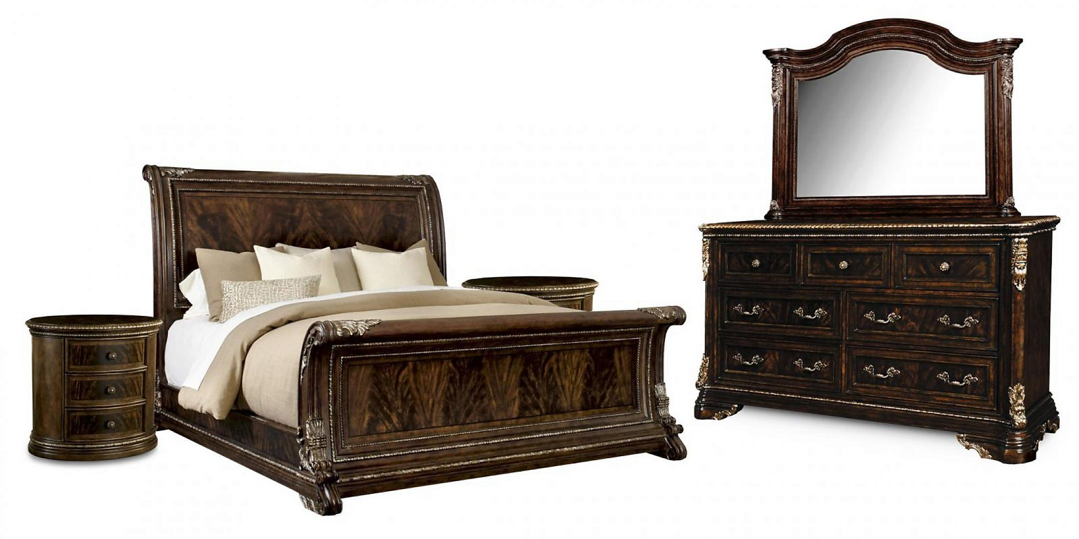 Traditional 18th Century Cherry Wood King Sleigh Bedroom Set 5Pcs HD-80002