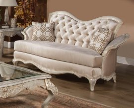 Luxury IVORY Pearl Chenille Silver Gold Loveseat HD-90020 Traditional
