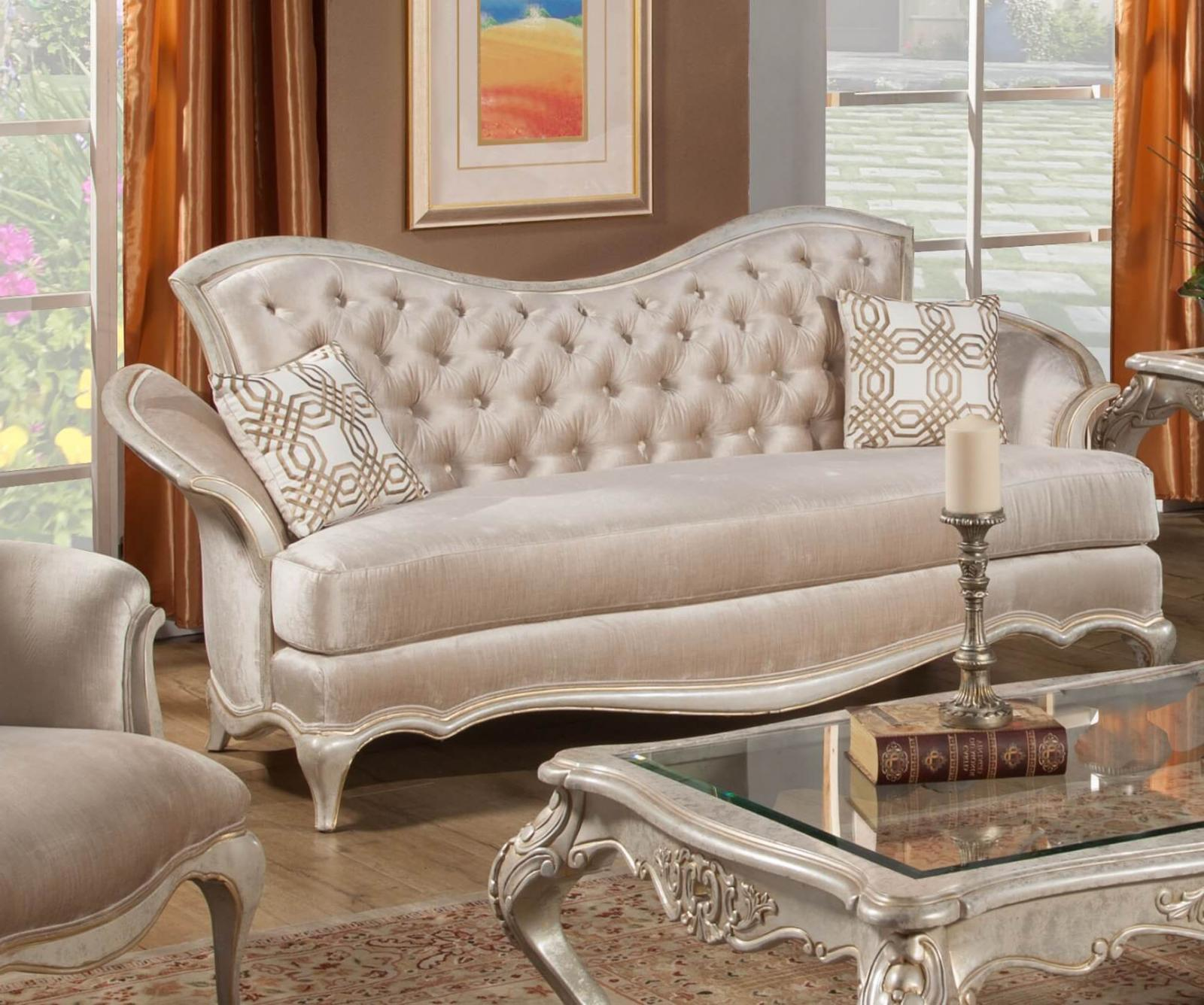 Bennetti Luxury IVORY Pearl Chenille Silver Gold Sofa Perlita Sofa IVORY  Classic Traditional