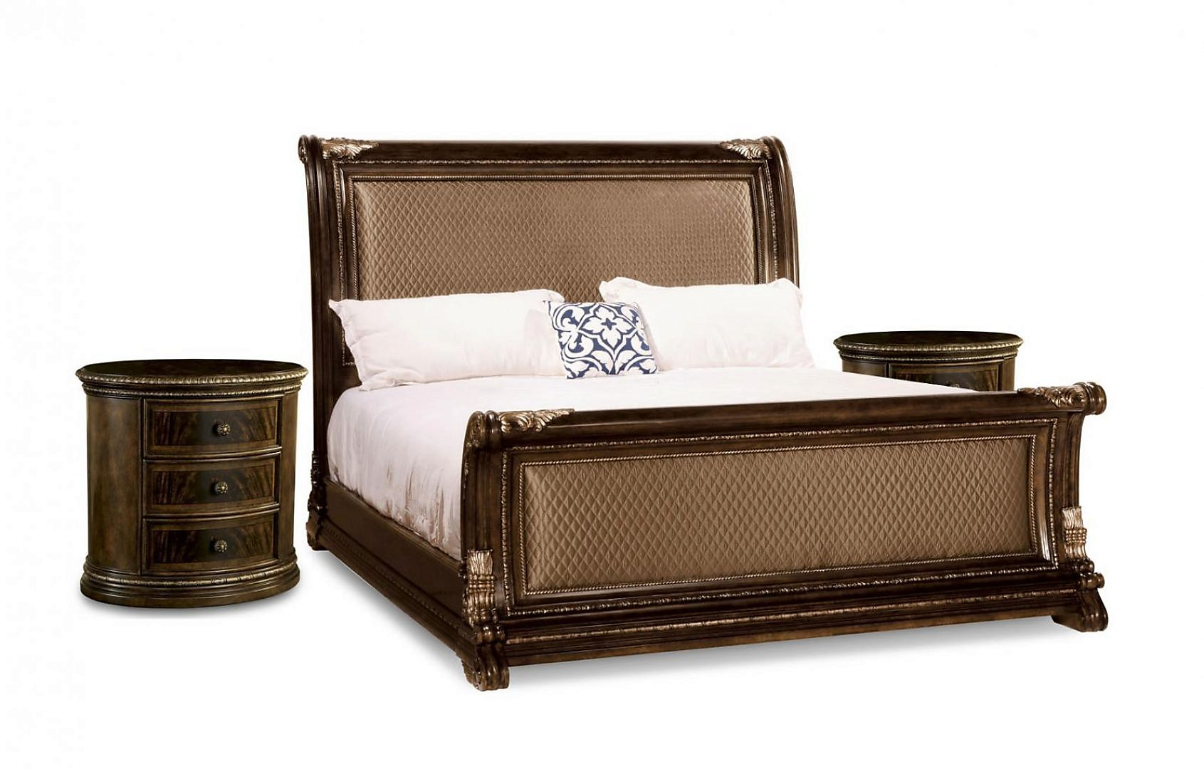 Traditional 18th Century Cherry Upholstered Queen Sleigh Bedroom Set 3Pcs HD-80003
