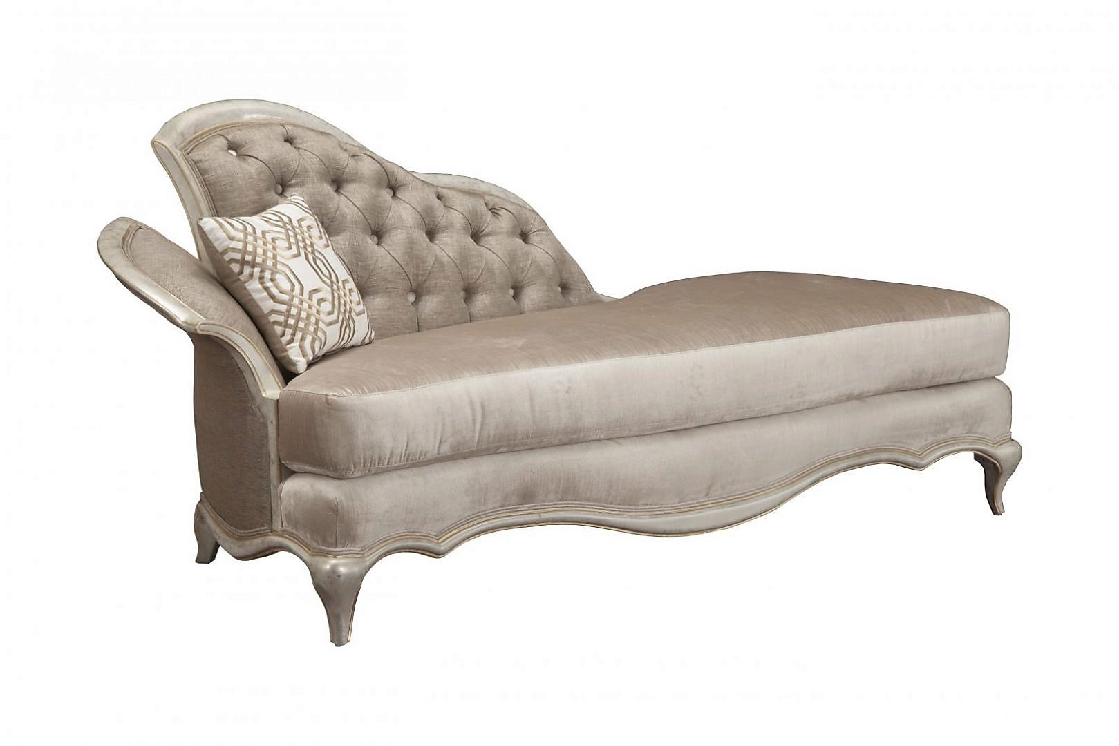 Bennetti IVORY Pearl Chenille Silver Gold Chaise Lounge Perlita Chaise Lounge Classic Traditional