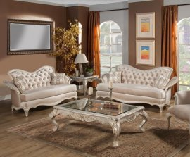 Ivory Pearl Chenille Silver Gold Sofa Set 2P HD-90020 Classic Traditional