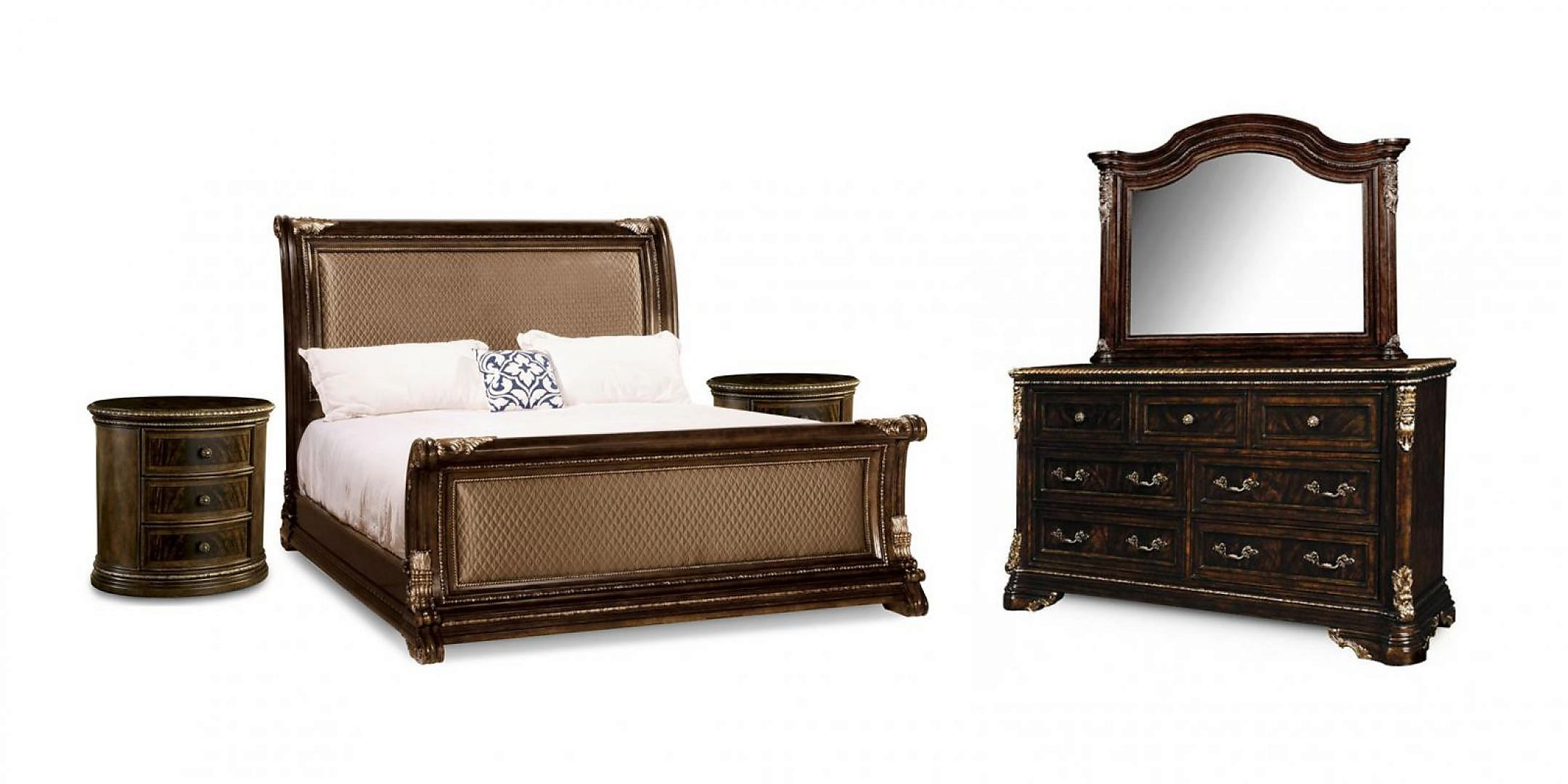 Traditional 18th Century Cherry Upholstered Cal King Sleigh Bedroom Set 5Pcs HD-80003