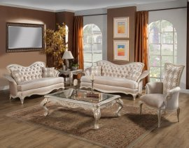 Ivory Pearl Silk Chenille Silver Gold Sofa Set 3Pc HD-90020 Classic Traditional
