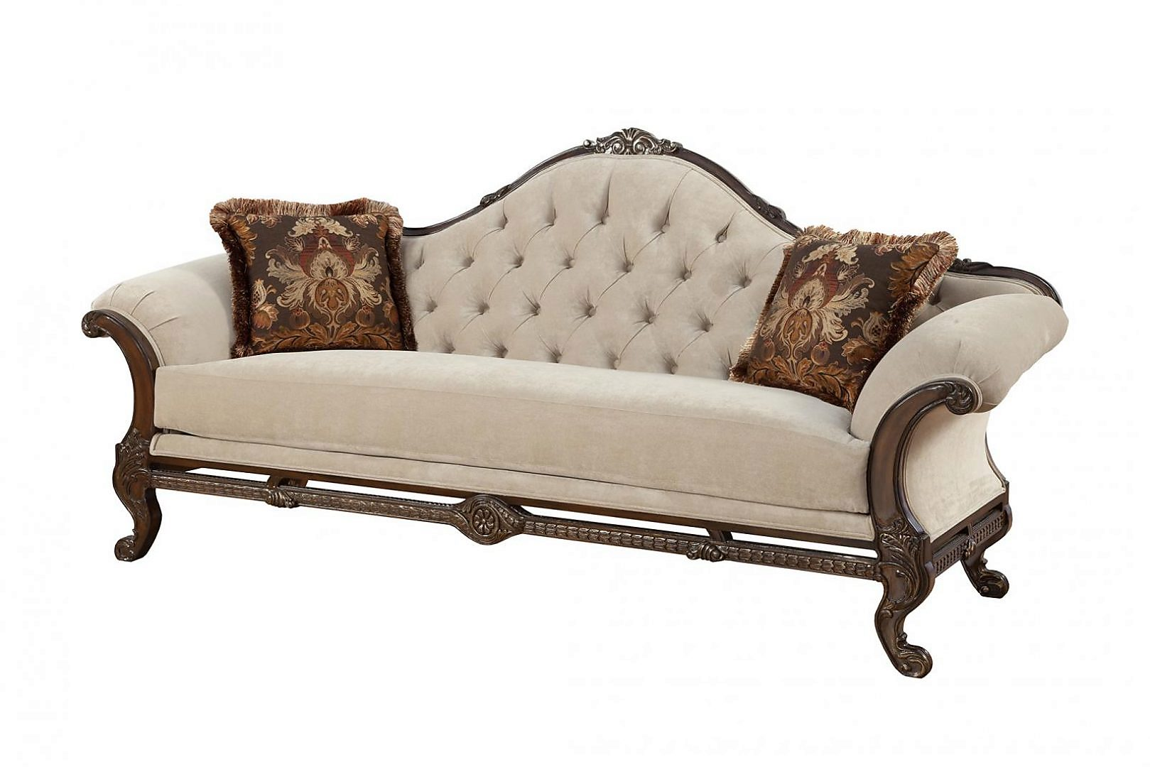 Bennetti Luxury Beige Chenille Dark Carved Wood Sofa Rosella Sofa BR Classic Traditional