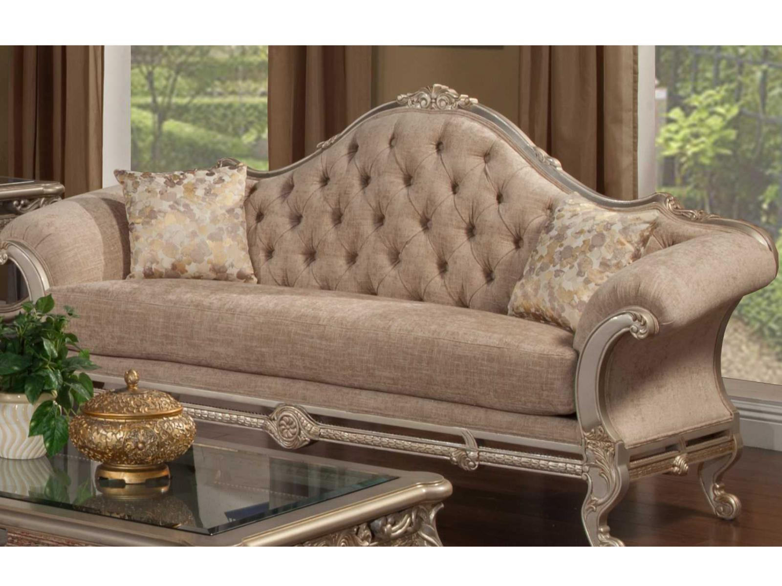 Bennetti Luxury Beige Chenille Silver Carved Wood Sofa Rosella Sofa Silver Classic Traditional