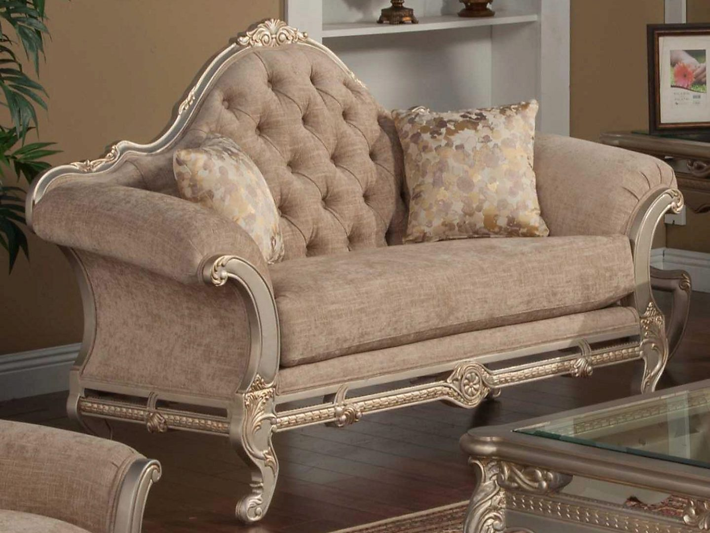 Bennetti Luxury Beige Chenille Silver Carved Wood Loveseat Rosella Silver Loveseat  Classic Traditional