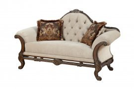 Bennetti Luxury Beige Chenille Dark Carved Wood Loveseat Rosella Loveseat BR Classic Traditional
