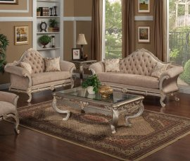 Bennetti Luxury Chenille Silver Carved Wood Sofa Set 2Pcs Rosella Silver Sofa Loveseat Classic Traditional