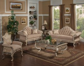Bennetti Luxury Chenille Silver Carved Wood Living Room Set 3Pcs Rosella Silver Sofa Loveseat Accent Chair Traditional