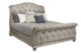Traditional Oak Finish Tufted Upholstered Queen Sleigh Bed  HD-80005