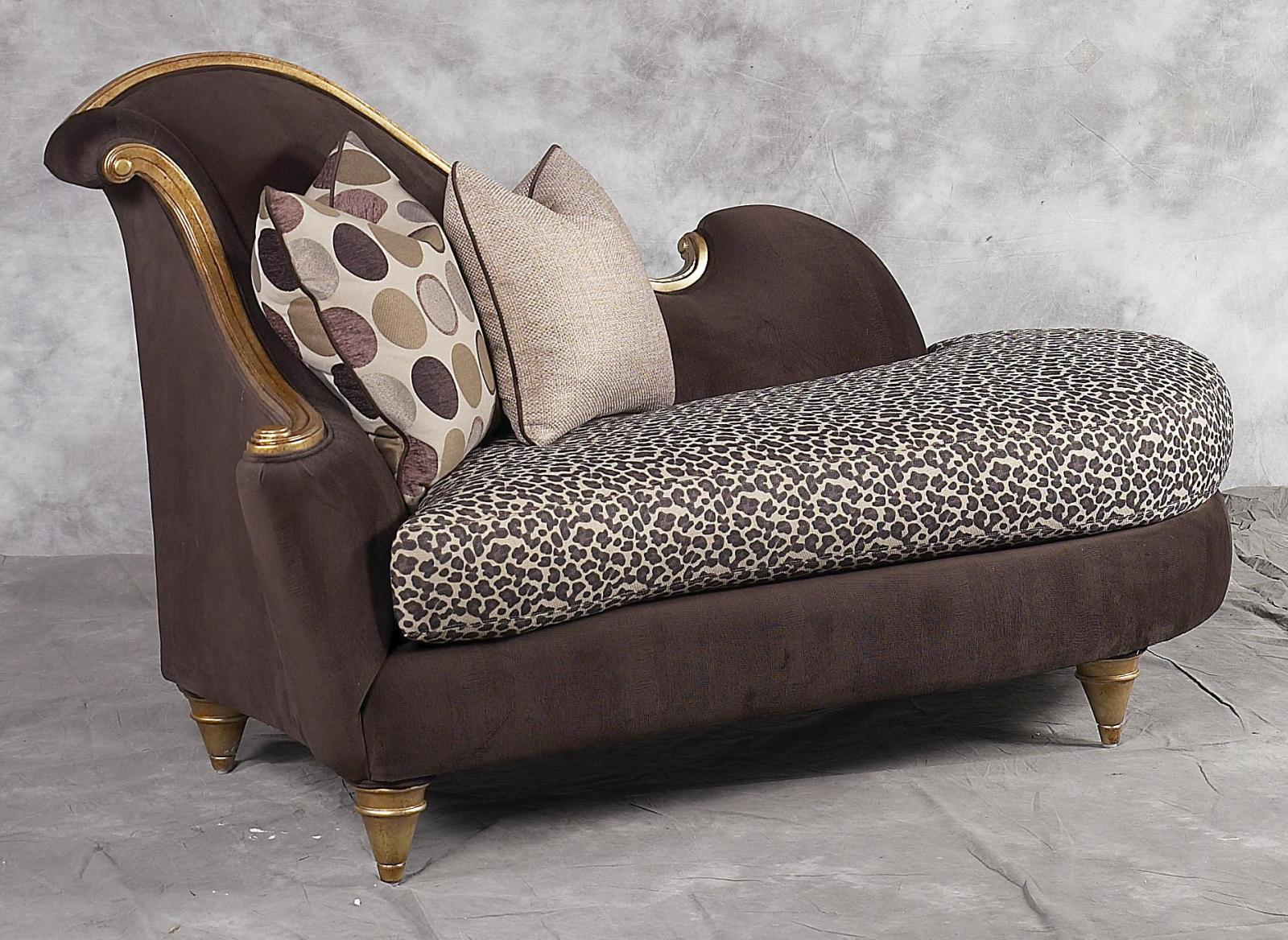 Bennetti Luxury Chenille Chocolate Chaise Lounge Gold Wood Montecito Chaise Lounge BR  Classic Traditional