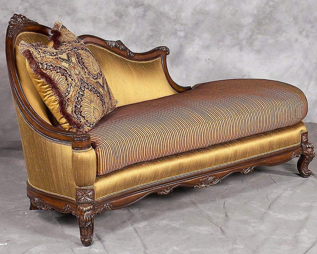 Bennetti Luxury Silk Chenille Chaise Lounge Carved Wood Milania Chaise Lounge Classic Traditional